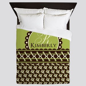 Brown Olive Floral Stitched Personaliz Queen Duvet