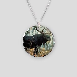 Huge Moose Necklace Circle Charm