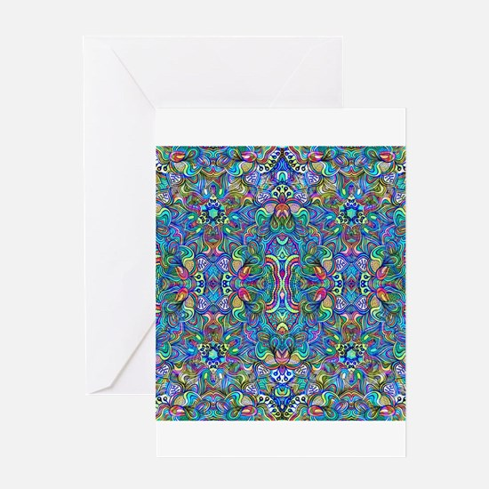 Colorful Abstract Psychedelic Symme Greeting Cards