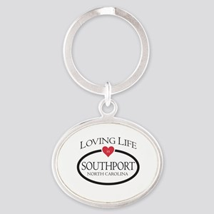 Loving Life in Southport, NC Oval Keychain