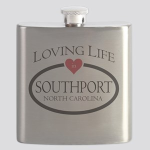 Loving Life in Southport, NC Flask