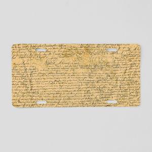 Old Manuscript Aluminum License Plate