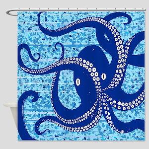Indigo Octopus on paint splash Shower Curtain