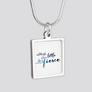 She is Fierce Silver Square Necklace