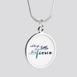 She is Fierce Silver Round Necklace