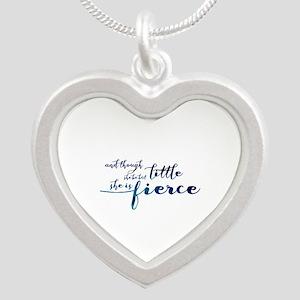 She is Fierce Silver Heart Necklace