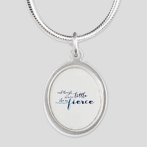 She is Fierce Silver Oval Necklace