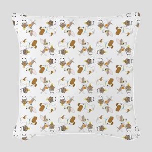 SHOPPING DOGS Woven Throw Pillow