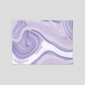 pastel lilac purple swirls 5'x7'Area Rug