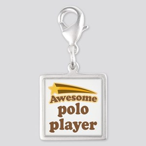 Awesome Polo Player Silver Square Charm