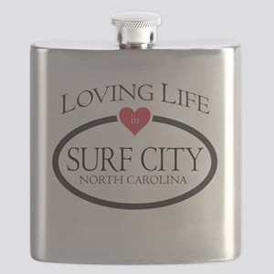 Loving Life in Surf City, NC Flask