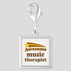 Music Therapist Silver Square Charm