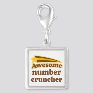 Number Cruncher Silver Square Charm