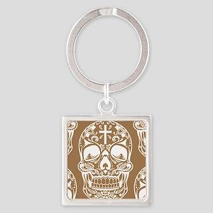 SugarSkull, tattoo,tribal Vintage Square Keychain
