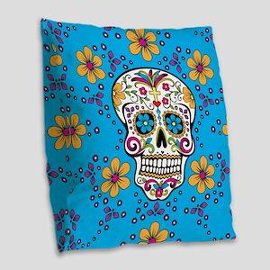 Sugar Skull TEAL Burlap Throw Pillow