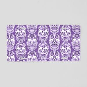 Sugar Skull Purple Aluminum License Plate