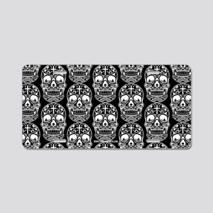 Sugar Skull Black Aluminum License Plate