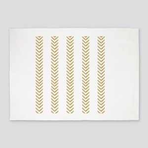 White Gold Chevron Arrows 5'x7'Area Rug