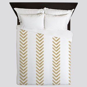 White Gold Chevron Arrows Queen Duvet