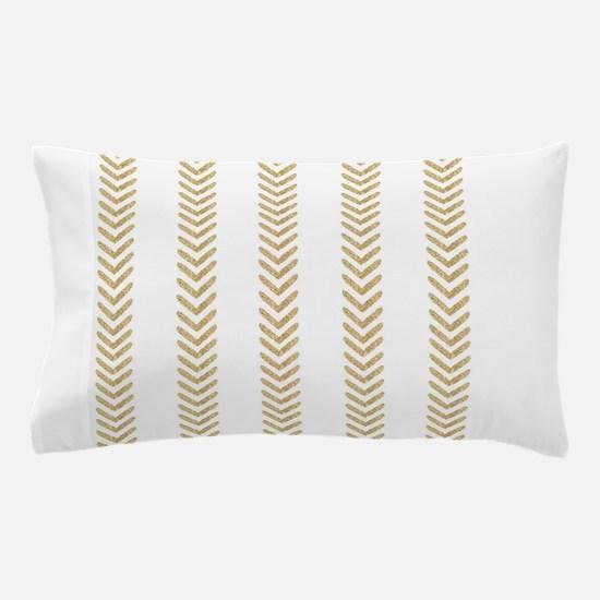 White Gold Chevron Arrows Pillow Case