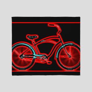Black Neon Red Bicycle Throw Blanket