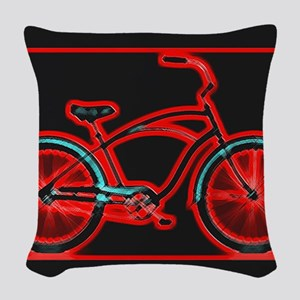 Black Neon Red Bicycle Woven Throw Pillow