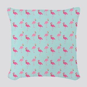 Pink Flamingos Pattern Woven Throw Pillow