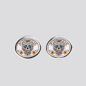 Sugar Skull WHITE Oval Cufflinks