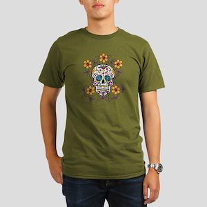 Sugar Skull WHITE Organic Men's T-Shirt (dark)