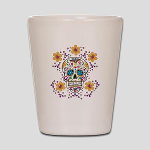 Sugar Skull WHITE Shot Glass