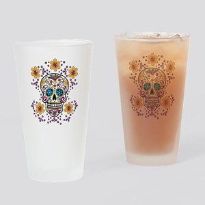 Sugar Skull WHITE Drinking Glass
