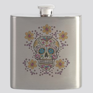 Sugar Skull WHITE Flask
