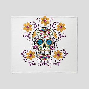 Sugar Skull WHITE Throw Blanket
