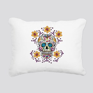 Sugar Skull WHITE Rectangular Canvas Pillow