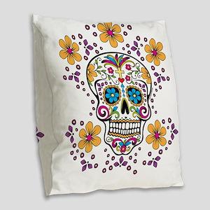 Sugar Skull WHITE Burlap Throw Pillow