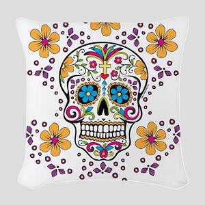 Sugar Skull WHITE Woven Throw Pillow