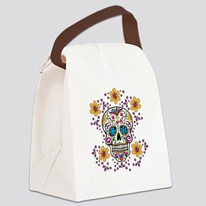 Sugar Skull WHITE Canvas Lunch Bag