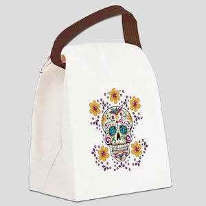 Sugar Skull WHITE Canvas Lunch Bag