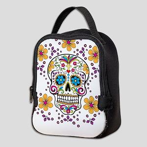 Sugar Skull WHITE Neoprene Lunch Bag
