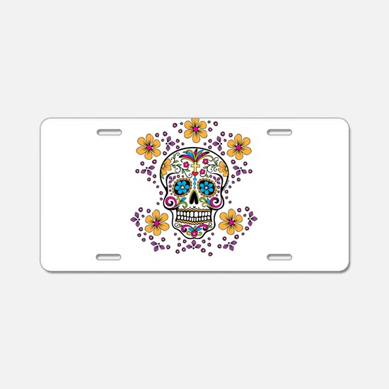 Sugar Skull WHITE Aluminum License Plate