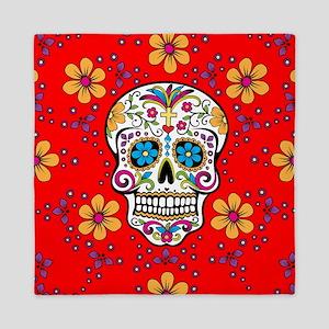 Sugar Skull RED Queen Duvet