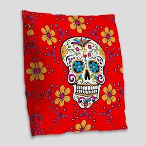 Sugar Skull RED Burlap Throw Pillow