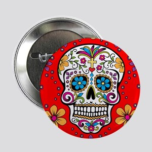 "Sugar Skull RED 2.25"" Button"