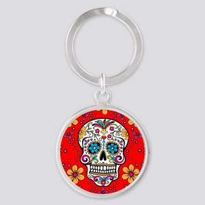 Sugar Skull RED Round Keychain