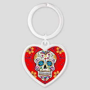 Sugar Skull RED Heart Keychain