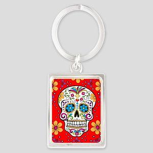 Sugar Skull RED Portrait Keychain