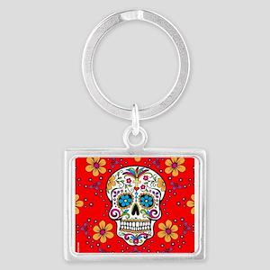 Sugar Skull RED Landscape Keychain