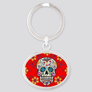Sugar Skull RED Oval Keychain