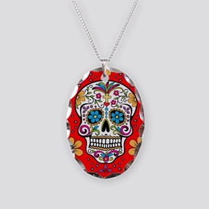 Sugar Skull RED Necklace Oval Charm