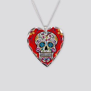 Sugar Skull RED Necklace Heart Charm